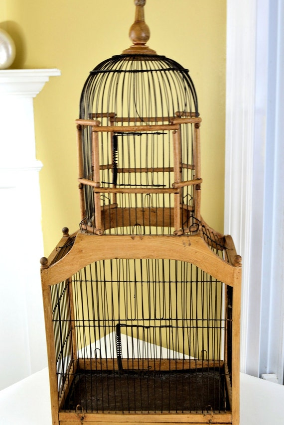 Vintage Victorian Bird Cage Wire Amp Wood Single Dome