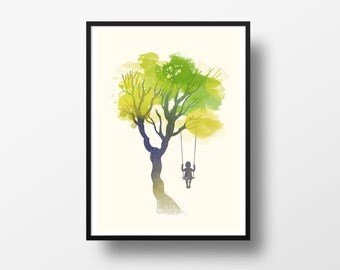Tree swing girl watercolor art print - poster wall art home decor - Pick your color - room girl decor - girly decor - NG62