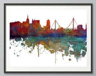Lisbon Skyline,  Portugal, European Skyline, Urban Buildings, Cityscape, Print, Poster, Modern Art, Painting, Wall Art, Watercolor, Giclee