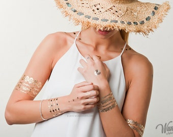 Wundertats Excelsior Collection - 3 sheets of jewellery-inspired metallic tattoo in an elegant gift envelope