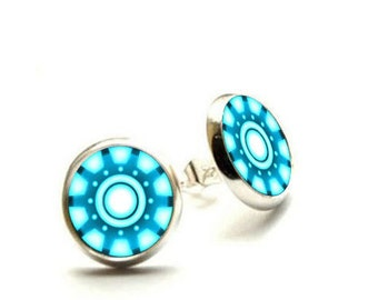 Iron Man Arc Reactor Earrings - Silver Stud Earrings - Hypoallergenic Earrings