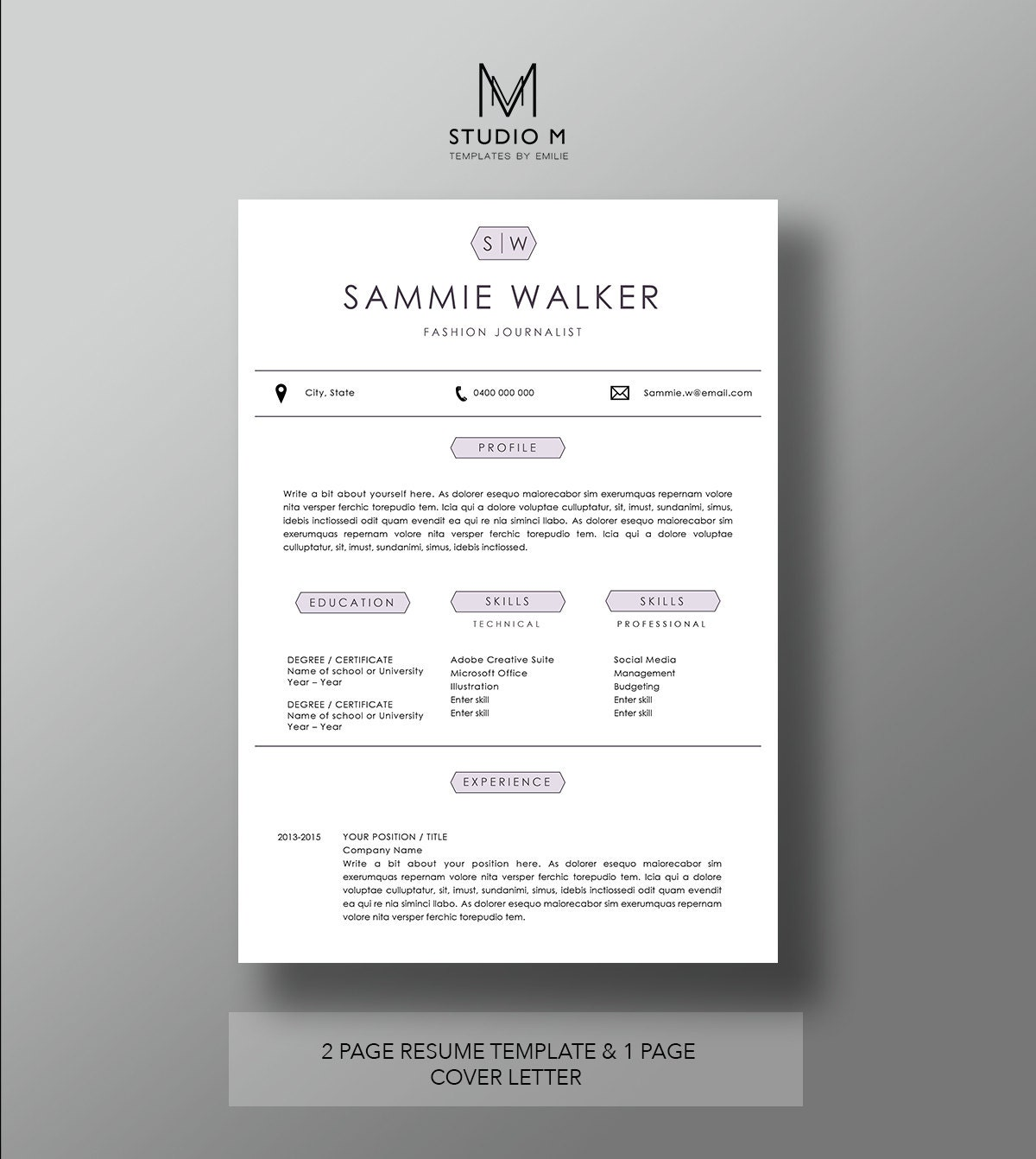 modern resume template page resume page cover letter 128270zoom