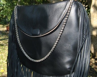 Leather handbag with fringe-Fringes leather bag