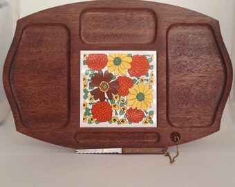 Mid Century. Modern. Teak Wood. Cheese Tray with knife. Vintage.