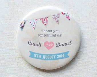 Vintage bunting style wedding favours, bottle openers or mirrors, choice of message, personalised [40 x 58mm mirrors or bottle openers]