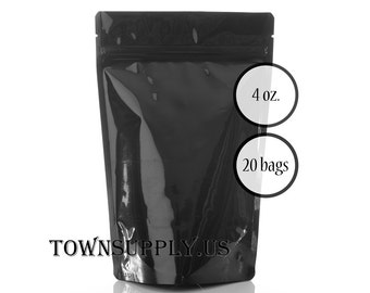 20 - 4 oz black stand up pouches, foil lined black storage bags, food grade packaging, resealable ziplock package, DIY favor bags