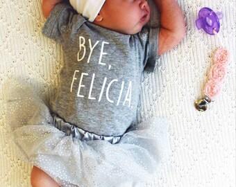 BUNDLE: BYE FELICIA Onesie® baby clothes bodysuit one piece creeper + Bib or hat / Funny Onesie® / girl Onesie® boy Onesie® / Baby Shower Gi