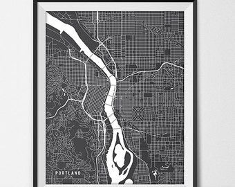 Portland Map Art Print, Portland City Map of Portland Art Poster of Oregon State Map OR Portland State University Art Grad Gift