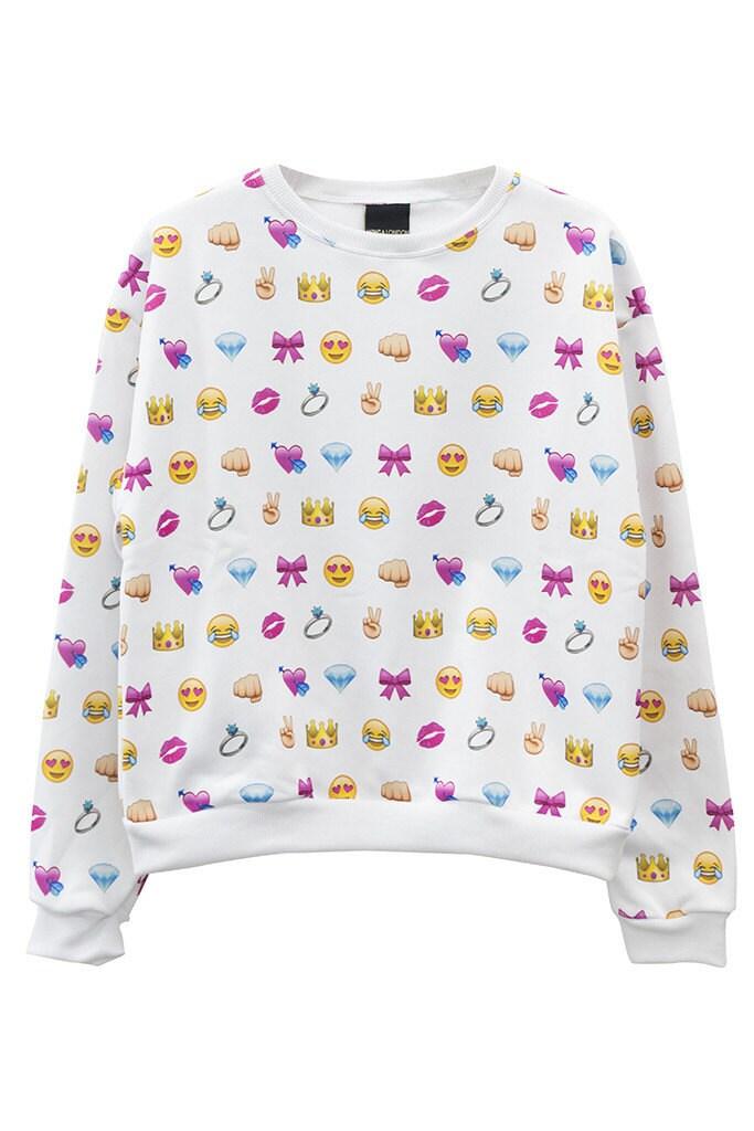 emoji sweater jumper top t shirt womens ladies girls by mlshopss. Black Bedroom Furniture Sets. Home Design Ideas