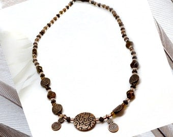 Glass & Copper Bead, 18in Necklace