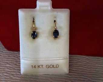 14 k Yellow Gold Earrings With Blue Sapphires & 2 Czs. 1.0 Gm. FREE SHIPPING.