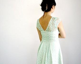 GOSSAMER | Mint lace bridesmaid dress. vintage inspired mint green dress. modest bridesmaid dress with sleeves