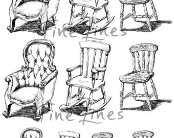 Chairs digital stamps, Chairs transfer sheets, Scrapbooking stemps, Craft supplies, Black and white sketch