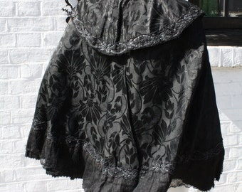vintage edwardian, victorian black cape brocade evening jacket S M