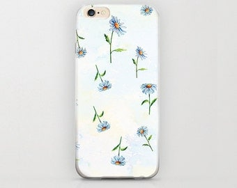 Floral Pattern iPhone 6 Case Cute Minimal Girly Light Blue Pastel Color Apple iPhone6 Plastic Hard Covers Unique Designs and Girly iPhone 6