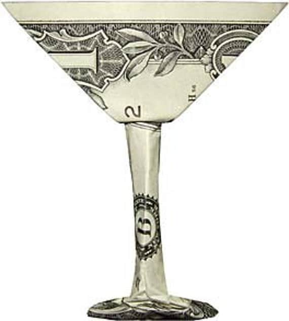 martini glass money origami dollar bill art by