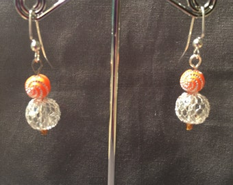 Clear Bead with Silver Cage and orange beads