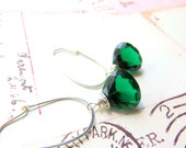 Large Modern Quartz Earrings - Wire Wrapped Dangle Earrings - Faceted Emerald Green Quartz and Sterling Silver - Bridesmaid Earrings