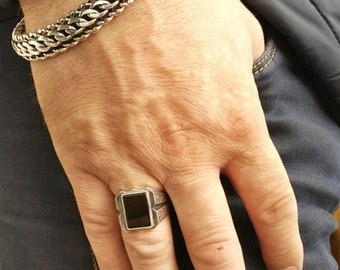 Handmade Sterling Silver Ring with Black Onyx Gemstone
