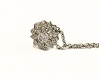 Diamond Flower Pendant and Chain set in 18ct White Gold  Viintage Design