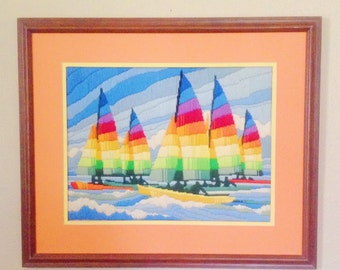 Colorful Vintage Sailboat Crewel Embroidery