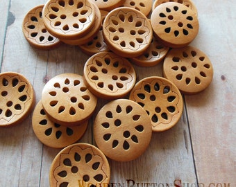 """5 Carved Wooden Button """"Lacy"""" 7/8"""" Light Coffee Colored"""