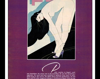 Playboy Vintage Pinup January 1985 Patrick Nagel Illustration Double Sided Sexy Nude Pinup Mature Wall Art Deco Print