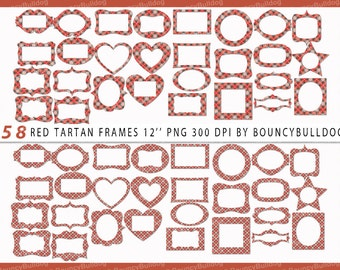 SALE Digital Frame red tartan clipart plaid clipart tartan frame winter plaids  design frame downloadable scrapbooking invitation card party