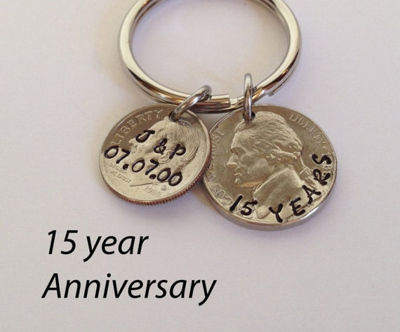 15 Year Wedding Anniversary Gift For Husband: 15 Year Anniversary Keychain 15th Anniversary Custom Key