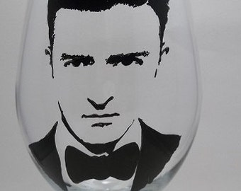 Justin Timberlake, Hand Painted Glass, Painted Wine Glass