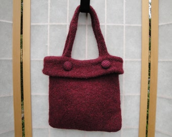 red handbag, wine red felt bag, deep red wool bag, red felted wool bag, knitted felt purse, wine red bag, felted wool handbag,red felt purse
