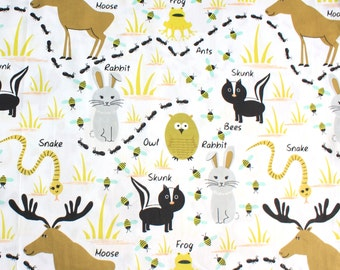 Woodland Animals Fabric by the Yard 65 in wide 100% Cotton Free Shipping
