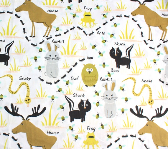 Woodland Animals Fabric By The Yard 65 In Wide 100 Cotton