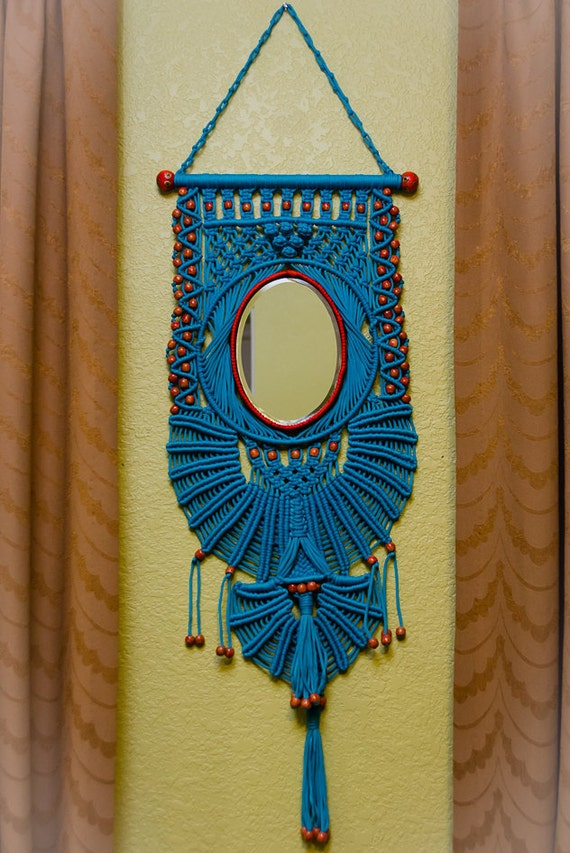 Items Similar To Macrame Wall Hanger With Mirror On Etsy