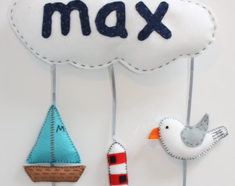 Seaside themed children's mobile/name plaque. Personalised made to order (seagull boat lighthouse and fishes)