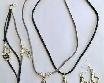 Handmade Egyptian Wadjet Cobra Goddess Pendent Jewellery set. Necklaces, Bracelets and Earrings