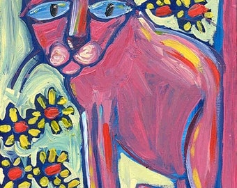 Pensive blue eyed pink cat, red flowers in the garden. 8 x 10 Folk art PRINT. FREE SHIPPING