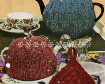 Vintage 1950's Knitting Pattern to make Three Quick Traditional Tea Cosies by A PDF Immediate Digital Download