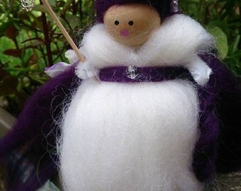 Purple Woodland Faerie - wool felt fairy