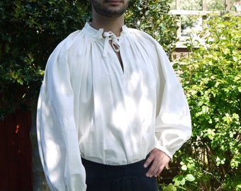 Medieval Men's 15th Century Linen chemise, medieval clothing, historical costume. Medieval Wedding, Reenactment clothing. Linen shirt.