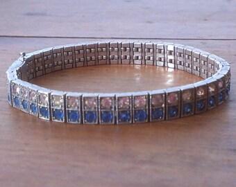 SALE! Vintage Diamonbar Sterling Silver Bracelet Art Deco 1930's
