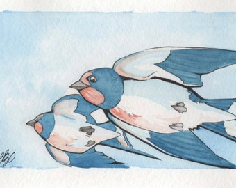 The Swallow Twins | 4x6 Original Watercolor