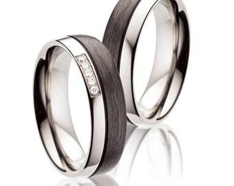 Schöne Carbon und Titan Ringe / Trauringe / Partnerringe