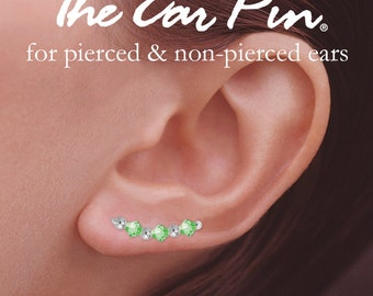 Sterling Silver Swarovski Crystals Alternating Beads Ear Pin Earrings - Birthstone Series