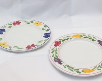 Plates vintage patterned green, pink, yellow and blue