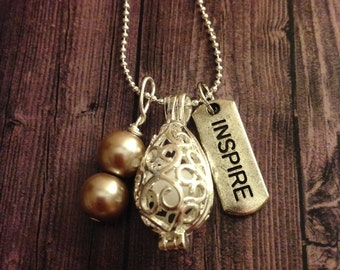 Silver Teardrop Inspire Beige Pearl Essential Oil Diffuser Necklace