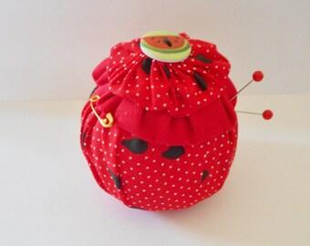 Watermelon Yo Yo Pincushion. Handmade.
