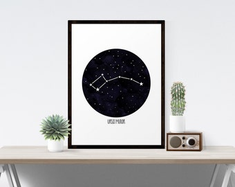 Ursa Minor Constellation Art, Little Dipper Wall Art, Astronomy Art Printable, Little Bear Constellation, Stargazer Series, Instant Download