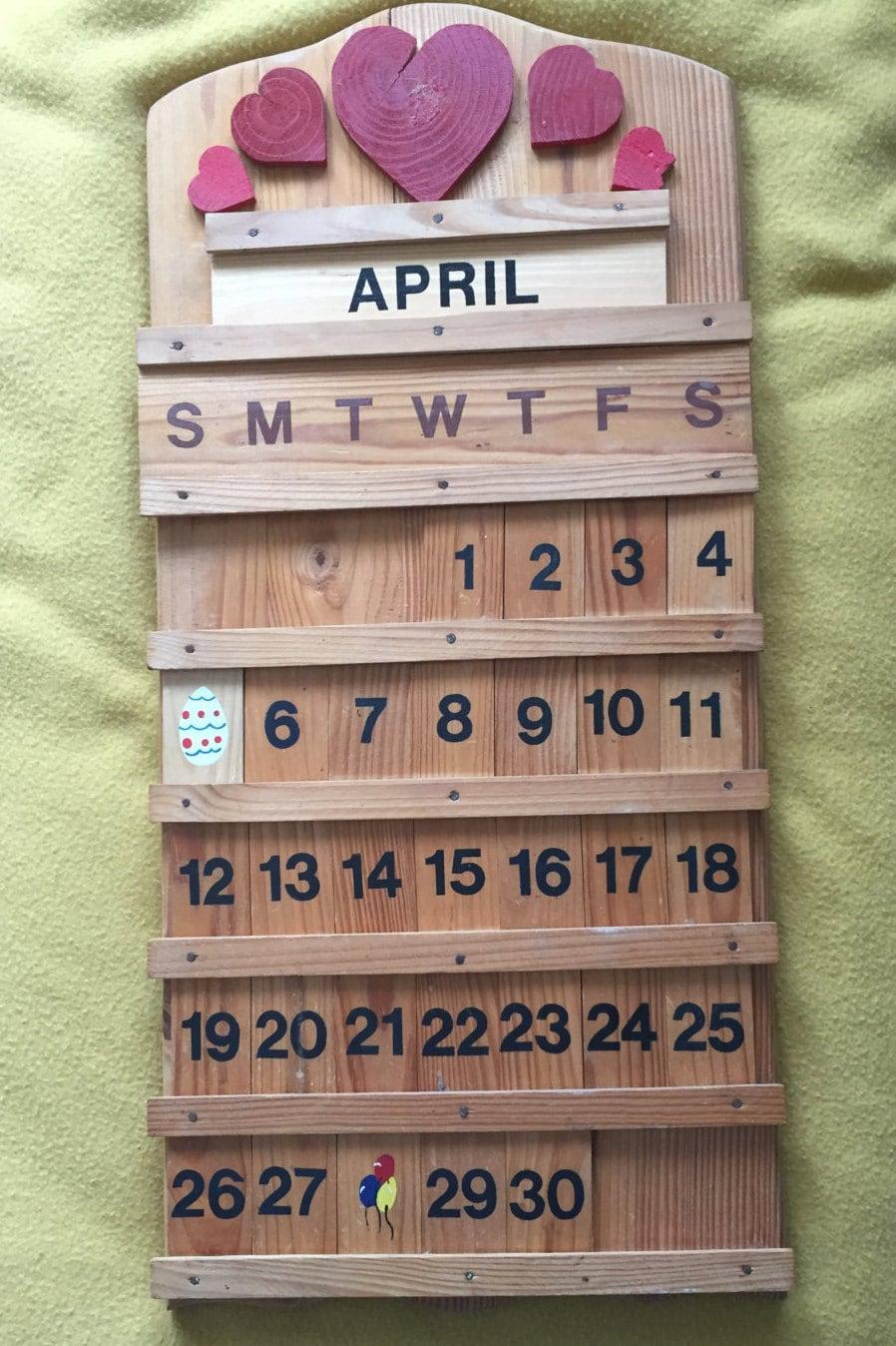 Vintage rustic wooden wall hanging perpetual calendar - Wooden perpetual wall calendar ...