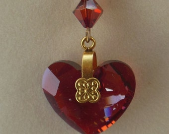 Swarovski Red Magma crystal pendant with gold-plated chain